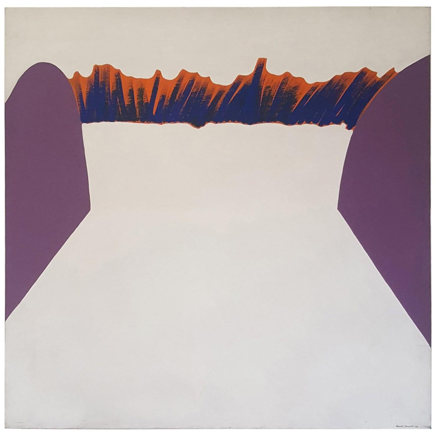 Midcentury Modern Abstract Painting by Claudio Granaroli, Signed and Dated, 1972
