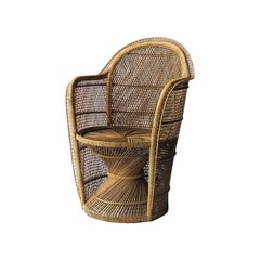 Mid-Century Modern Armchair French of Natural Wicker Fiber by Hand, 1970