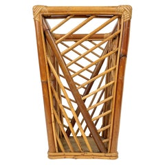 Mid-Century Modern Bamboo and Rattan Umbrella Stand, Italy, 1960s