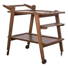 Mid-Century Modern Belgian Oak Bar Cart
