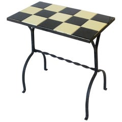 Mid-Century Modern Black and White Mosaic Tile Side or End Table