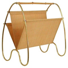Midcentury Modern Brass and Bamboo Magazine Rack, Austria 1950s