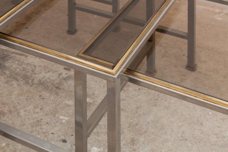 Late 20th Century Mid-Century Modern Brass and Chrome Nesting Tables, Side Tables For Sale
