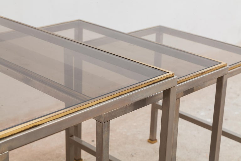 Mid-Century Modern Brass and Chrome Nesting Tables, Side Tables For Sale 1