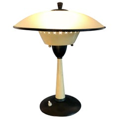 Mid-Century Modern Brass and Glass Table or Desk Lamp, Italy, 1950s