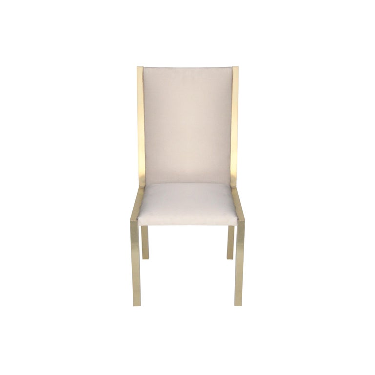 French Mid-Century Modern Brass Velvet Grey Set of Eight Chairs, France, 1970 For Sale