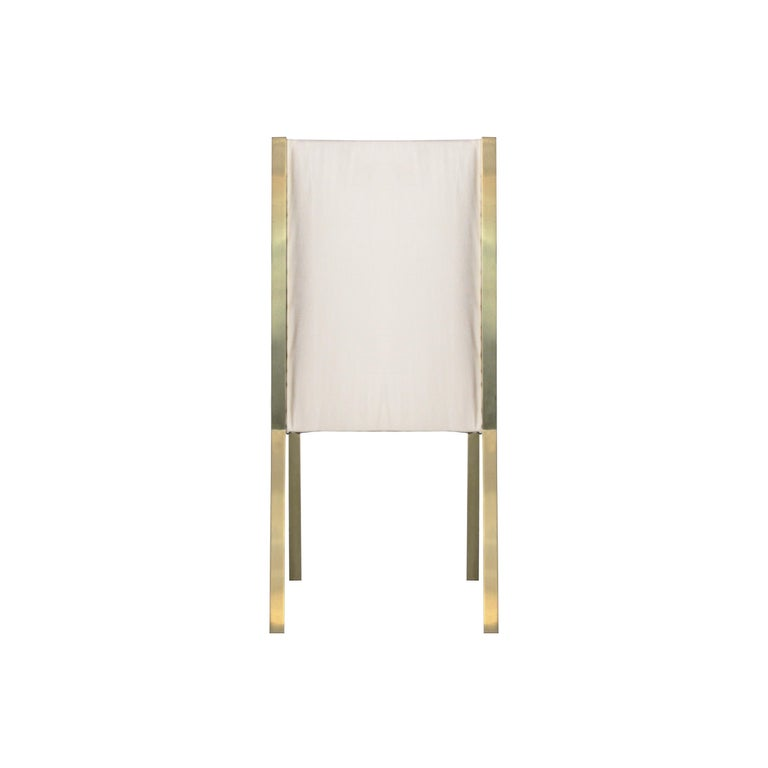 Late 20th Century Mid-Century Modern Brass Velvet Grey Set of Eight Chairs, France, 1970 For Sale