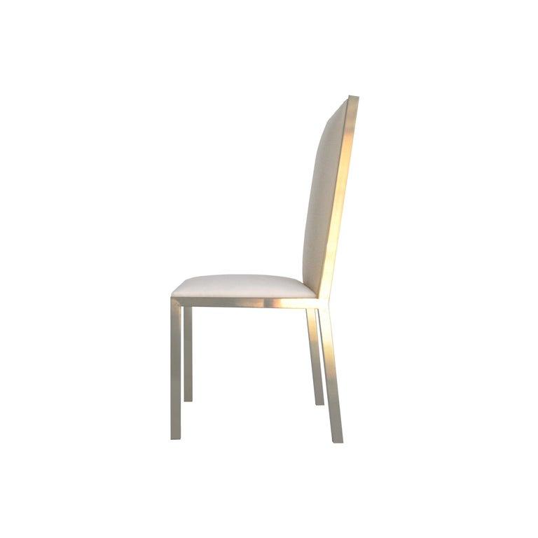 Mid-Century Modern Brass Velvet Grey Set of Eight Chairs, France, 1970 For Sale 1