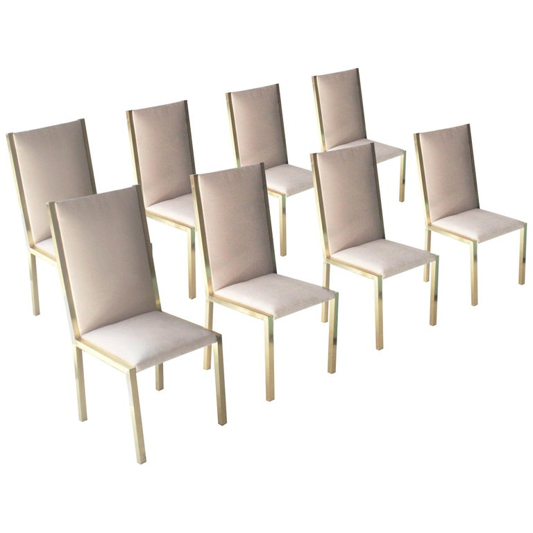 Mid-Century Modern Brass Velvet Grey Set of Eight Chairs, France, 1970 For Sale
