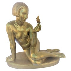 Midcentury /Modern Bronze, Nude Girl w Butterfly Gold Finish, Signed