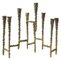 Midcentury Modern Brutalist Tiered Brass Candleholder