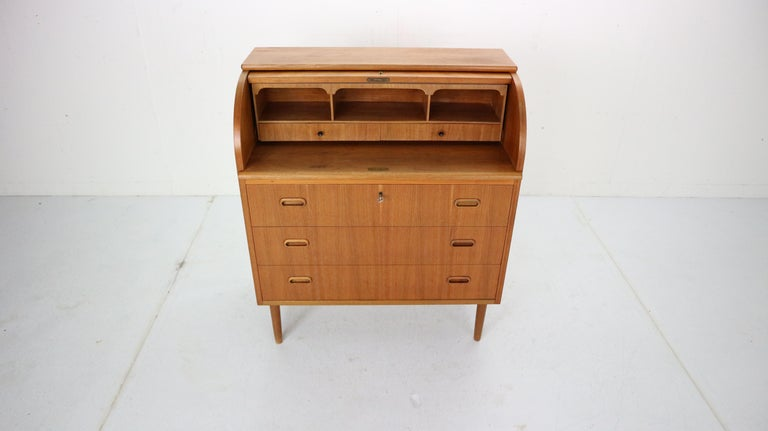 Mid-Century Modern by Egon Ostergaard Rolltop Secretary Desk, 1970 In Good Condition In The Hague, NL