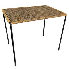 Mid-Century Modern Carl Auböck Wicker Top Coffee Table, 1950s, Austria