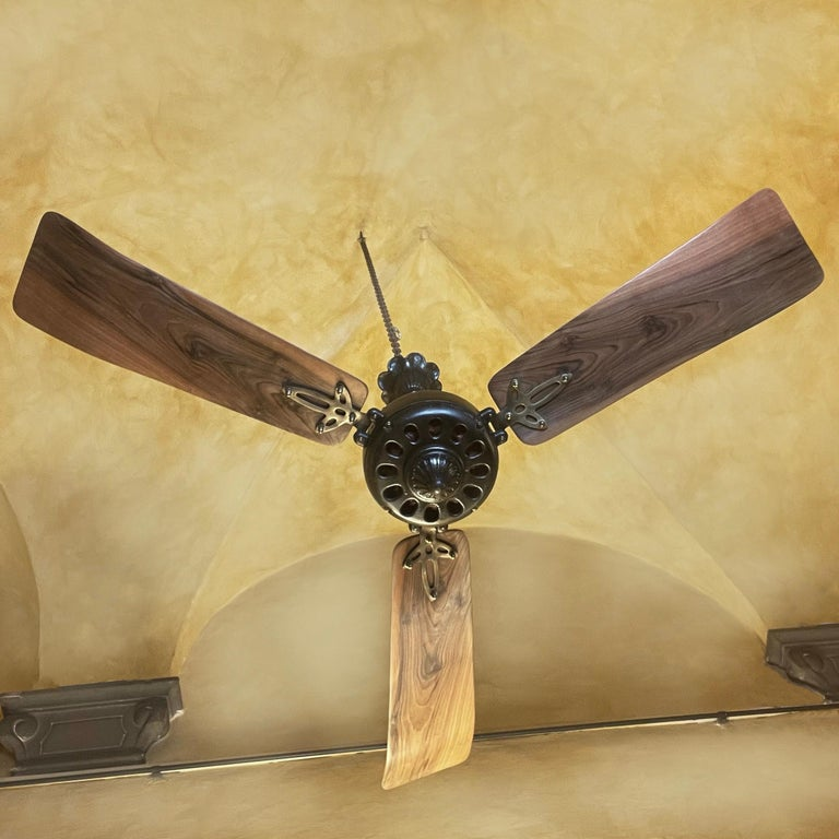 Mid-Century Modern Midcentury Modern CGE 'Compagnia Generale Elettricità' Cast Iron Ceiling Fan For Sale