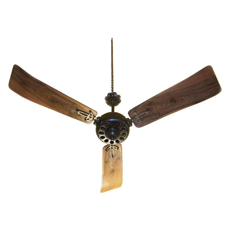 Midcentury Modern CGE 'Compagnia Generale Elettricità' Cast Iron Ceiling Fan For Sale