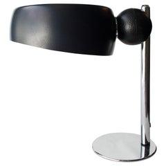 Mid-Century Modern Chromed Black Round Italian Table Lamp, 1970