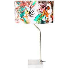 Mid-Century Modern Circular Gold Multicolour Methacrylate French Table Lamp 1970