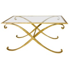 Mid-Century Modern Coffee Table by R. Subes Golden Wrought Iron Glass Top