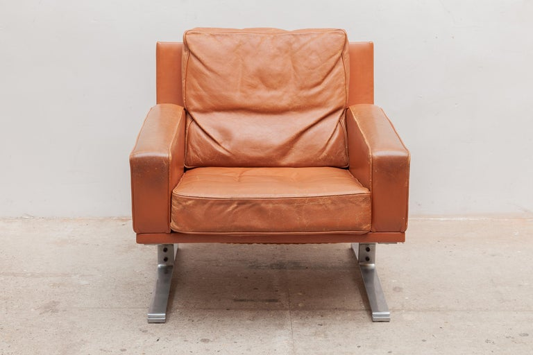 Danish Mid-Century Modern Cognac Leather Club Chairs 1960s with a Nice Patina