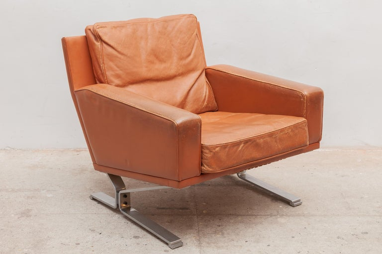 Mid-Century Modern Cognac Leather Club Chairs 1960s with a Nice Patina In Good Condition In Antwerp, BE