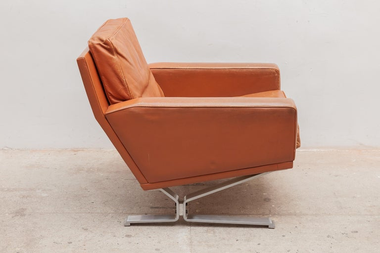 Mid-Century Modern Cognac Leather Club Chairs 1960s with a Nice Patina 1