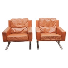 Mid-Century Modern Cognac Leather Club Chairs 1960s with a Nice Patina