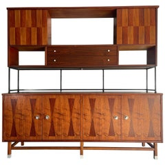 Mid-Century Modern Credenza and Hutch Top by Stanley in Walnut and Rosewood