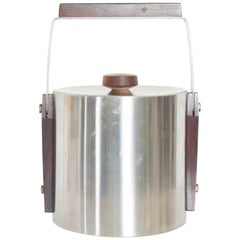 Mid-Century Modern Cultura Ice Bucket Stainless Steel with Walnut Wood, Sweden