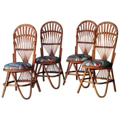 Mid-Century Modern Curved Bamboo Linen French Dinning Chairs, France, 1960