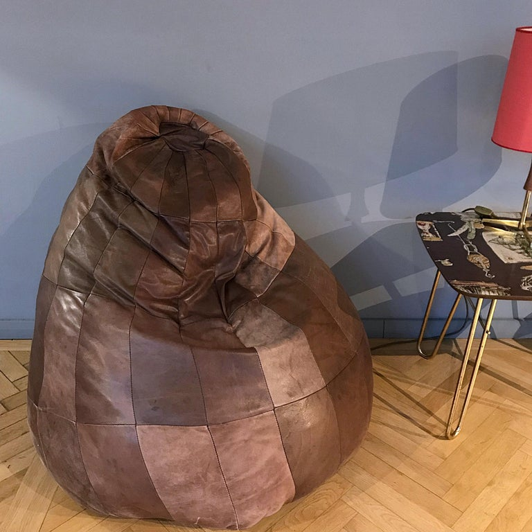 Mid-Century Modern Midcentury Modern De Sede Brown Leather Patchwork Bean Bag, 1970s, Switzerland
