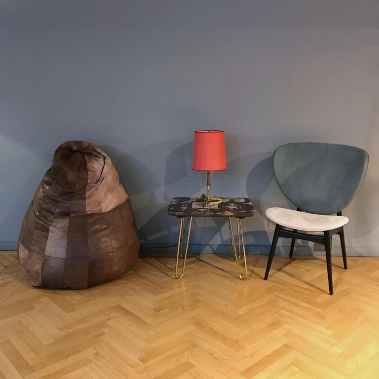 Swiss Midcentury Modern De Sede Brown Leather Patchwork Bean Bag, 1970s, Switzerland