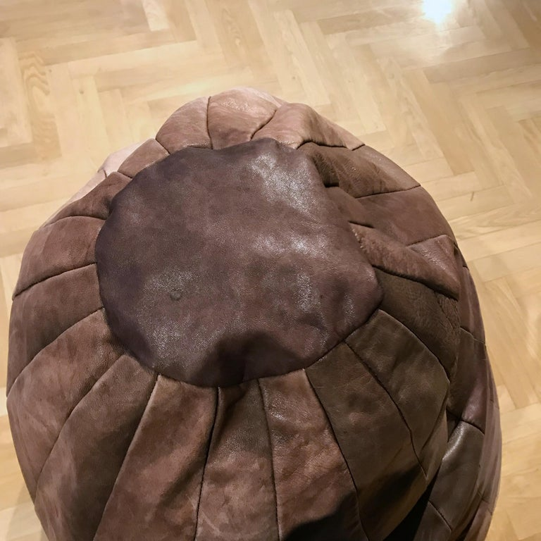 Hand-Crafted Midcentury Modern De Sede Brown Leather Patchwork Bean Bag, 1970s, Switzerland For Sale