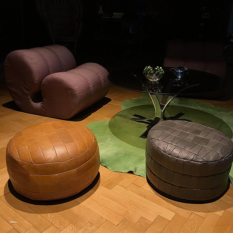 Mid-Century Modern Grey De Sede Leather Patchwork Pouf, 1970s, Switzerland For Sale 1