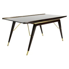 Mid-Century Modern Ebonized Wood, Brass and Black Glass Coffee Table, 1940s