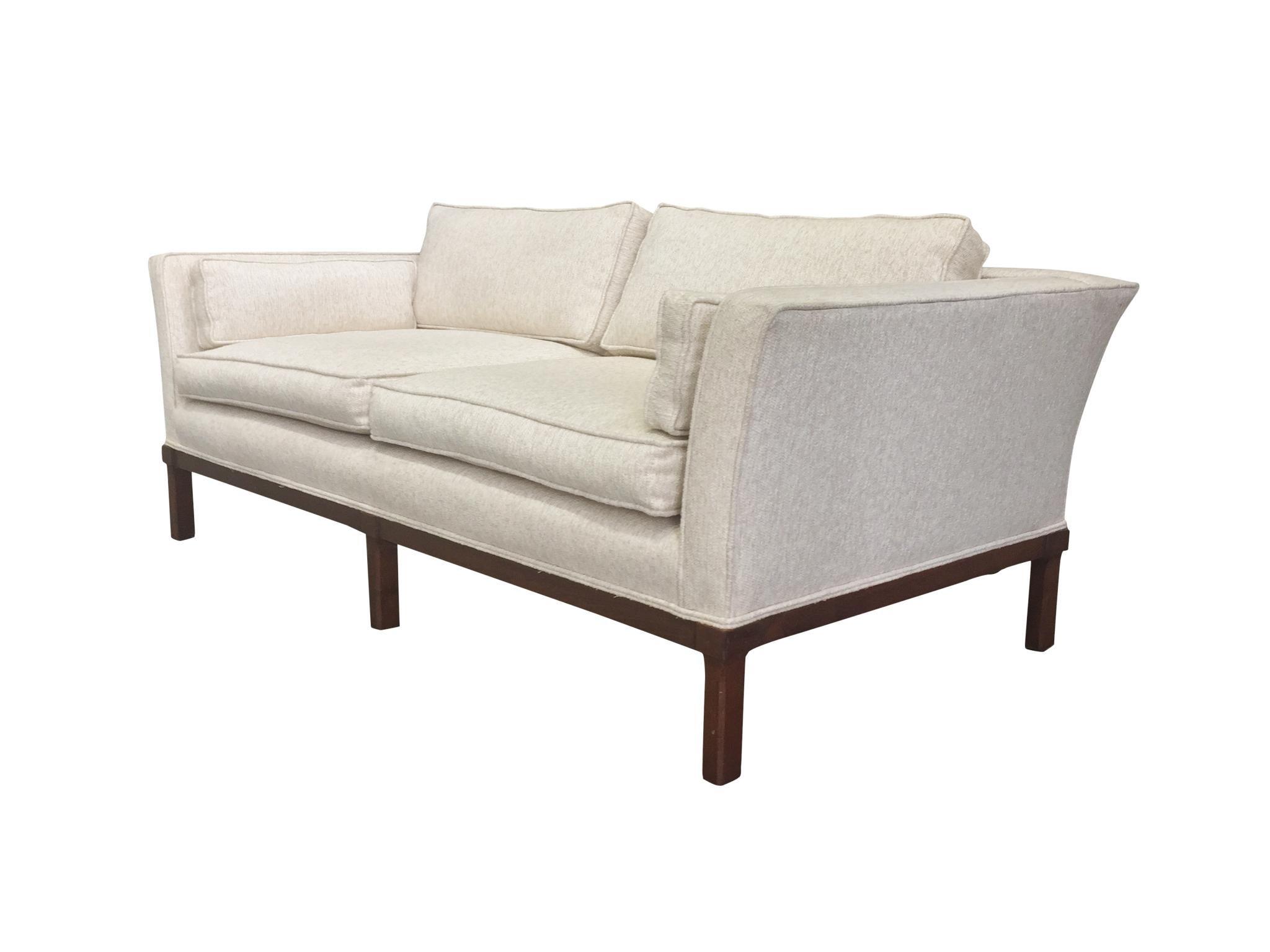 Mid Century Modern Ecru Sofa And Settee Set