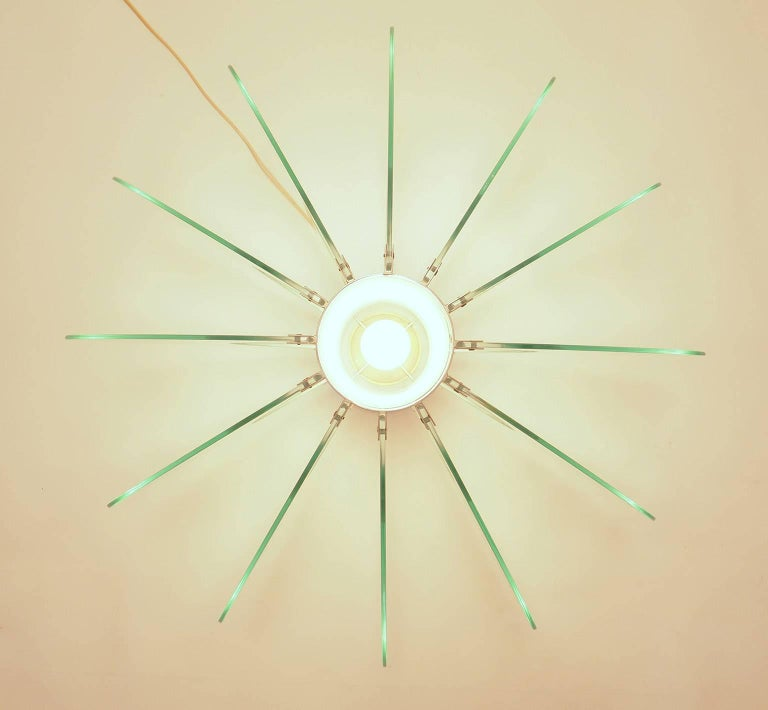 Brass Mid-Century Modern Fontana Arte Attribuited Large Glass Table Lamp, Milano 1960s For Sale