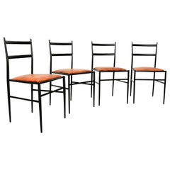 Mid-Century Modern Gio Ponti Superleggera Leather Italian Chairs, Set of 4