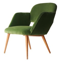 Mid-Century Modern Green Velvet Teak Czech Armchair, Czech Republic, 1960