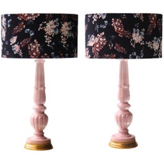 Mid-Century Modern Handcrafted Manises Ceramic Pink Black Pair of Table Lamp