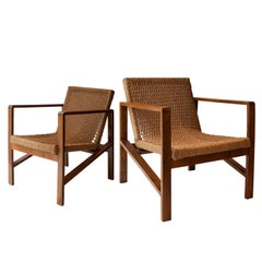Midcentury Modern Handcrafted Oak Natural Fiber Pair of Armchairs. France, 1950