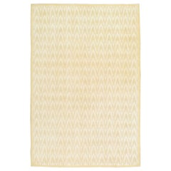 Midcentury Modern Handmade Accent Rug in Warm Beige and Ivory