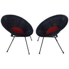 Mid-Century Modern Italian Black Wicker Round Armchairs, Made in Milano, 1950s
