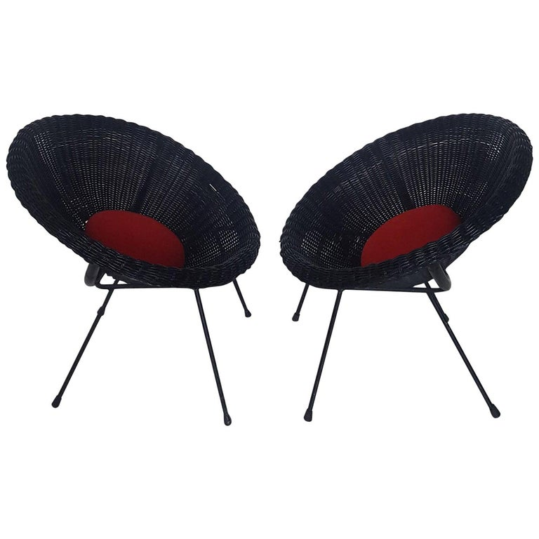 Mid-Century Modern Italian Black Wicker Round Armchairs, Made in Milano, 1950s For Sale