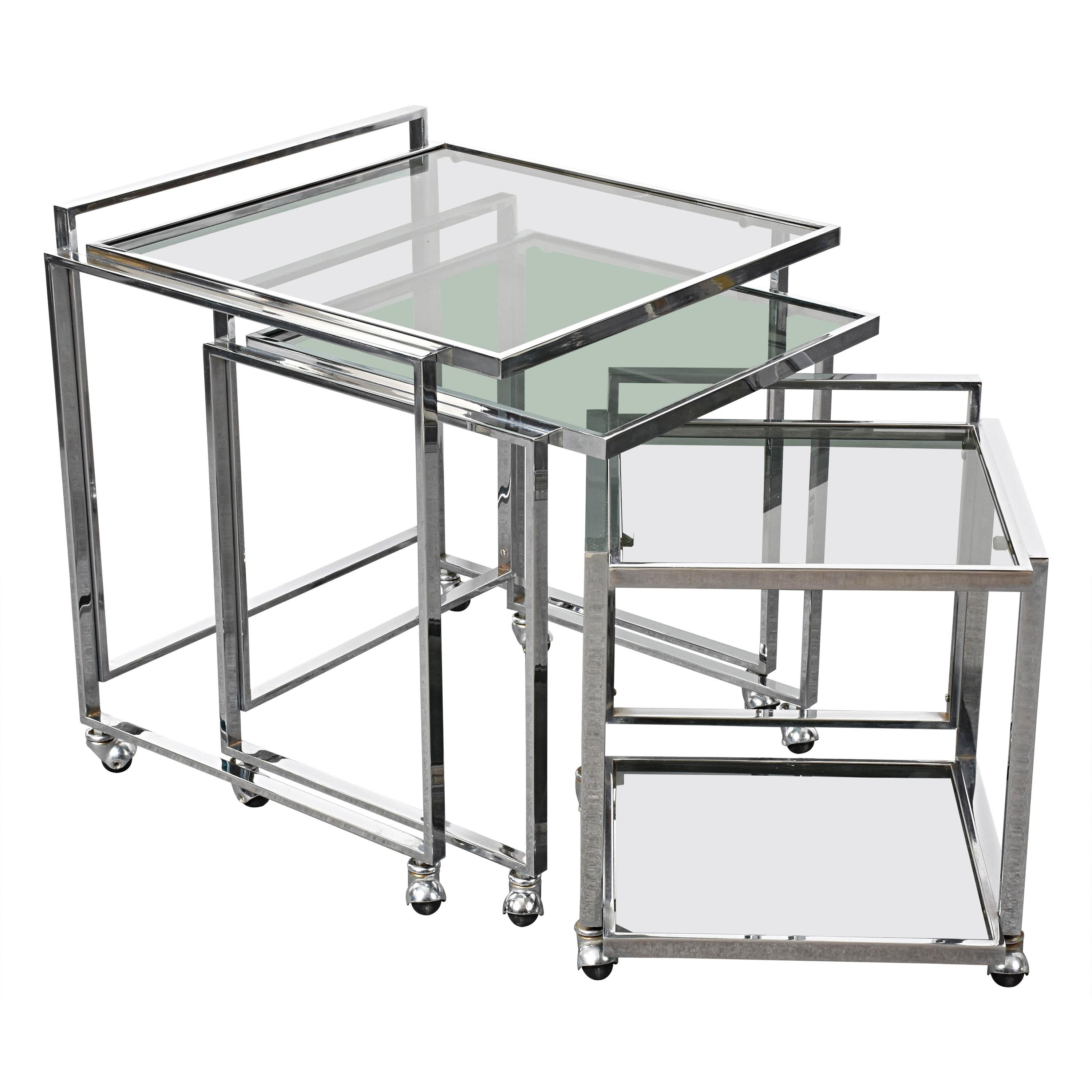 Mid-Century Modern Italian Chrome and Smoked Glass Nesting Tables, 1970s