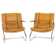 Mid-Century Modern Italian Chrome Z-Lounge Chairs, Pair