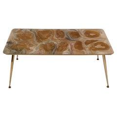 MidCentury Modern Italian Resin and Brass Coffee Table by Poliplastica MALP, 50s
