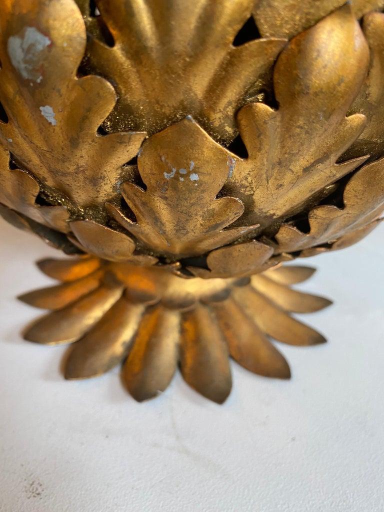 Mid-Century Modern Italian Tole Gilt Metal Pineapple Lamp, Hollywood Regency For Sale 8
