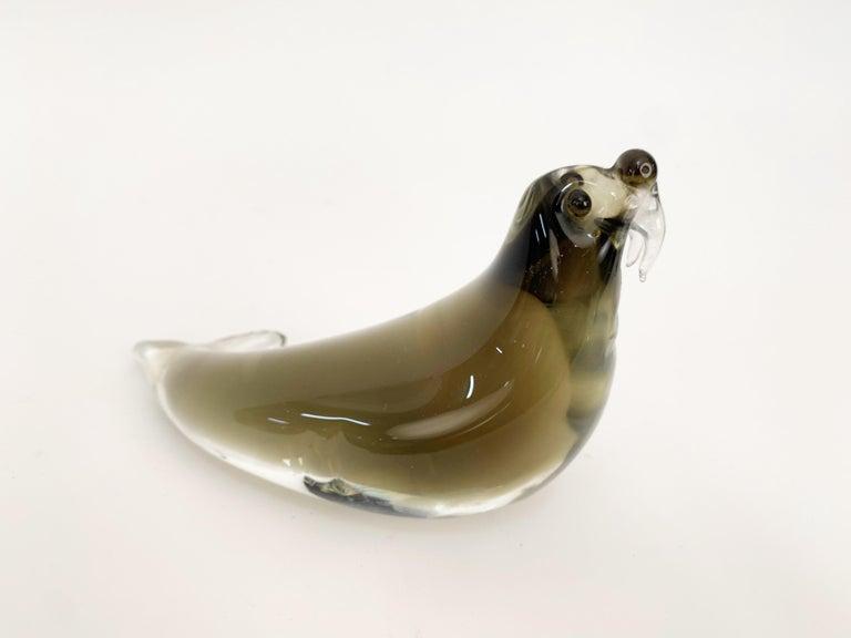 Art Glass Mid-Century Modern Italian Walrus Black Brown Murano Glass Sculpture Italy 1960s For Sale