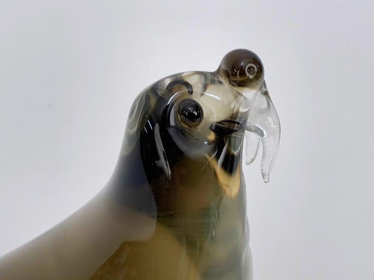 Mid-Century Modern Italian Walrus Black Brown Murano Glass Sculpture Italy 1960s For Sale 1