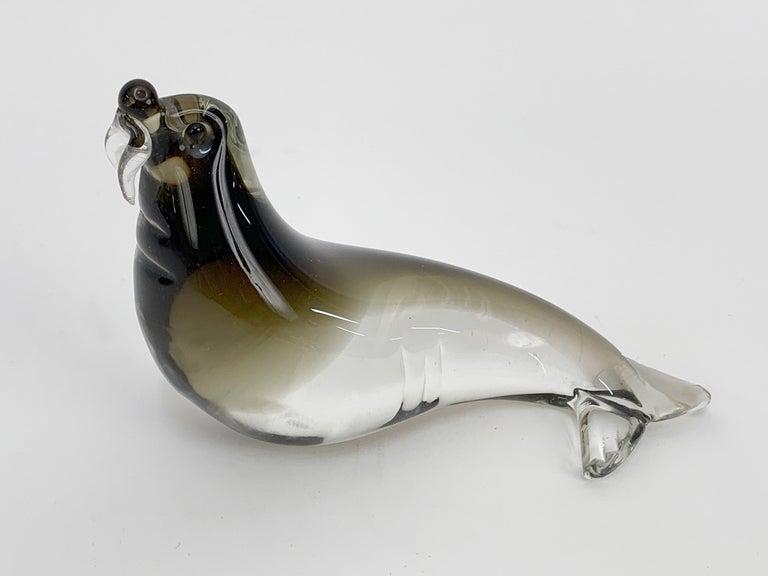 Mid-Century Modern Italian Walrus Black Brown Murano Glass Sculpture Italy 1960s For Sale 2